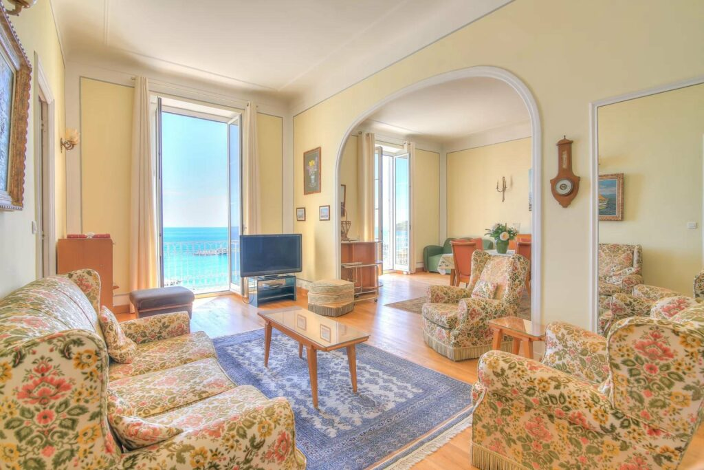 charming living room of apartment menton with printed couch and rug