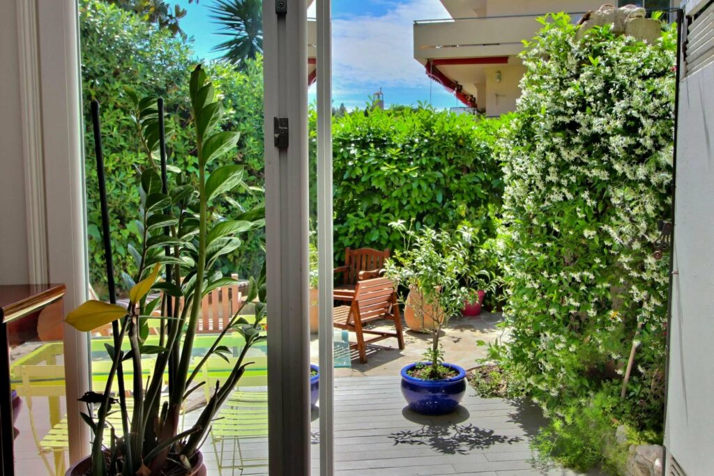 view of backyard surrounded by greenery