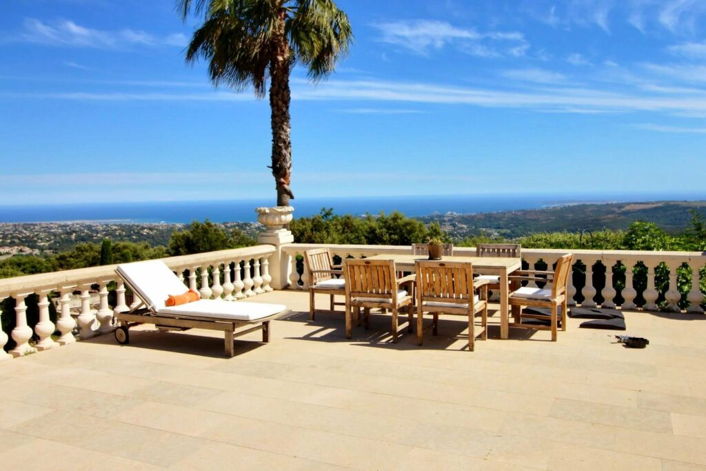 terrace of luxury property in south france with a sea view