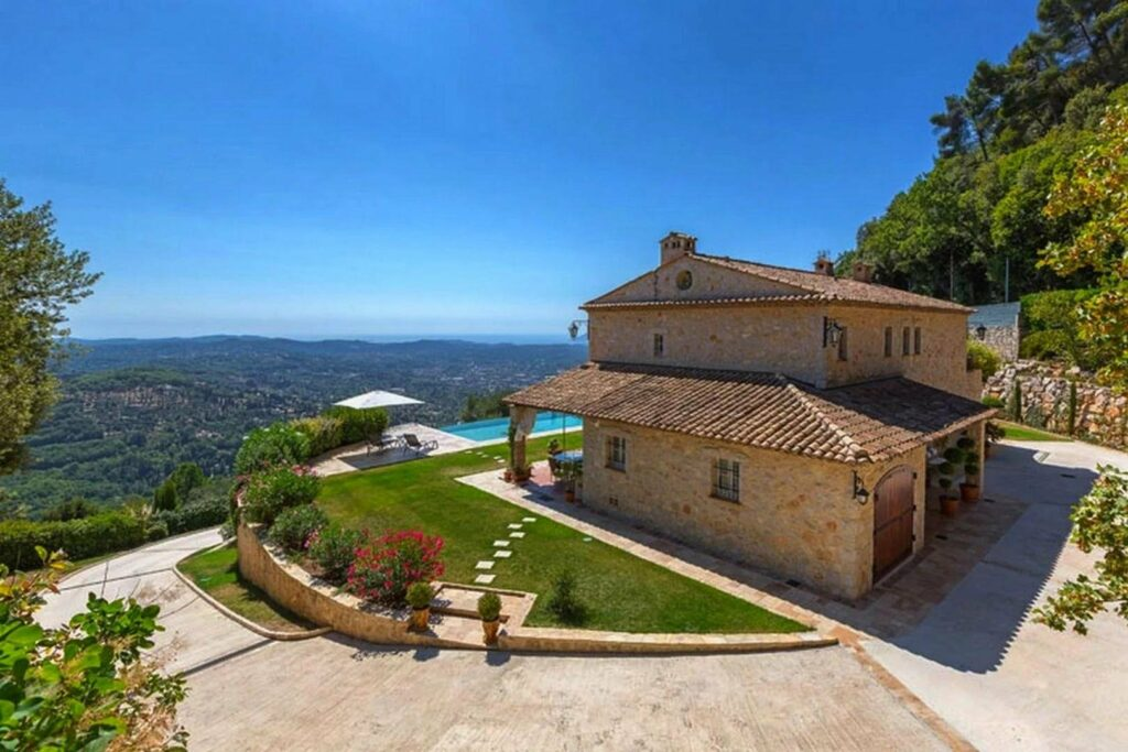 provencal stone mas in grasse with infinity pool and panoramic sea view