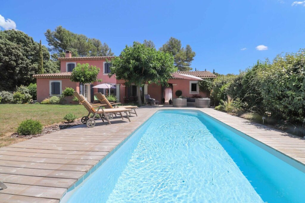 two floor provencal villa in south france with long pool and garden