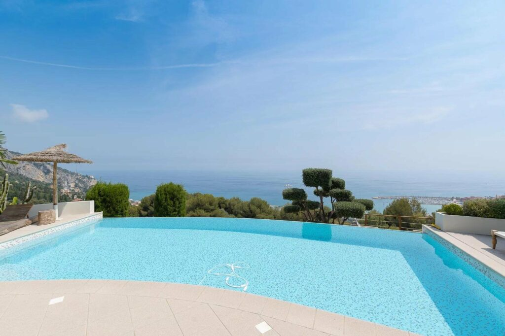 infinity pool of luxury villa in south france menton