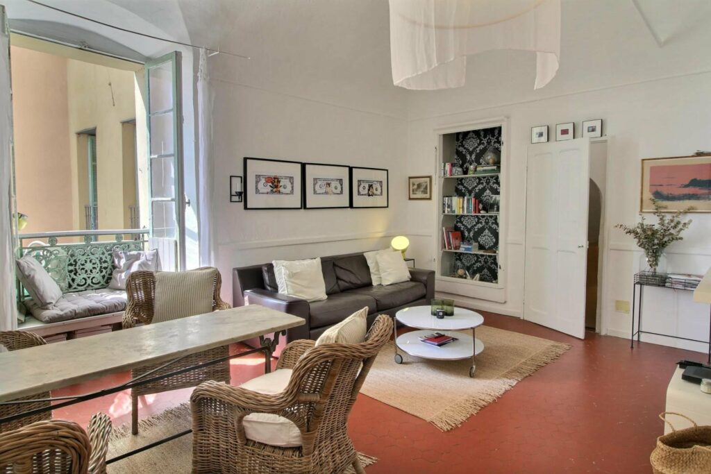 open living room of renovated apartment in menton old town