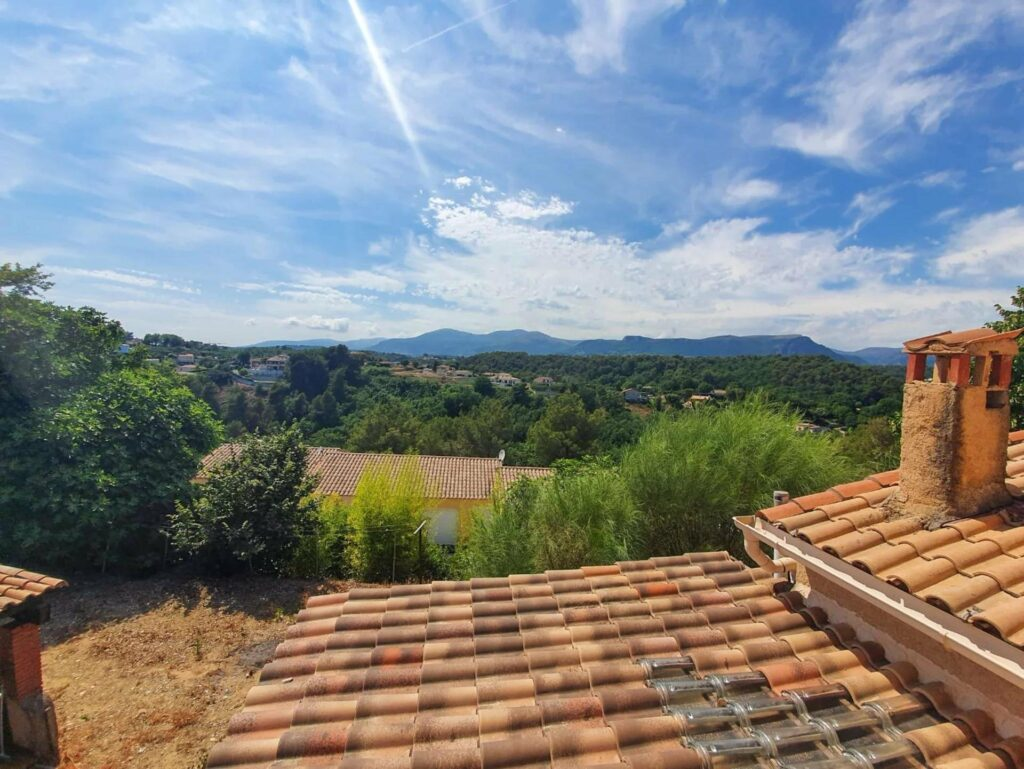 view from upstairs terrace of forest area in south france
