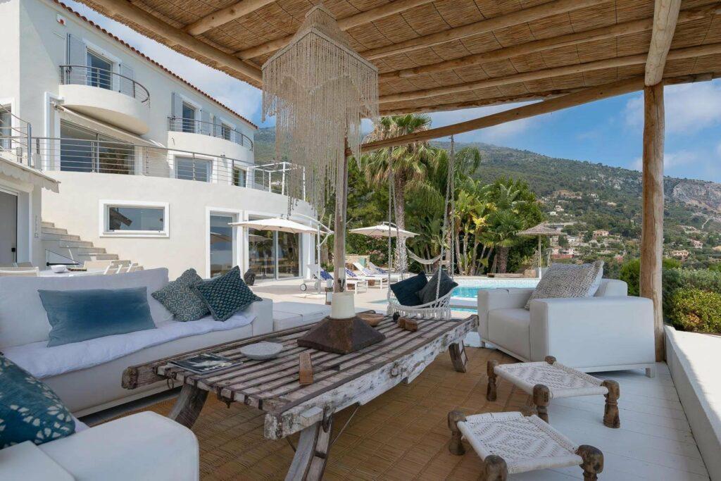 wooden pergola of luxury villa south france