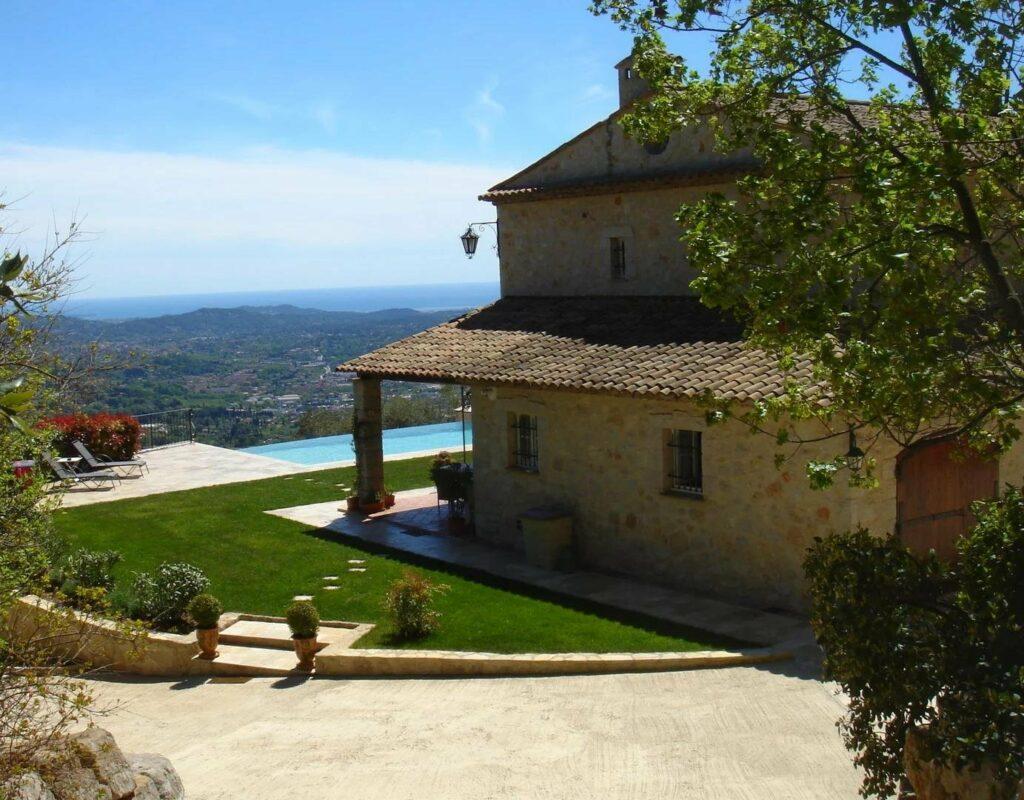 provencal style two floor stone villa overlooking the riviera