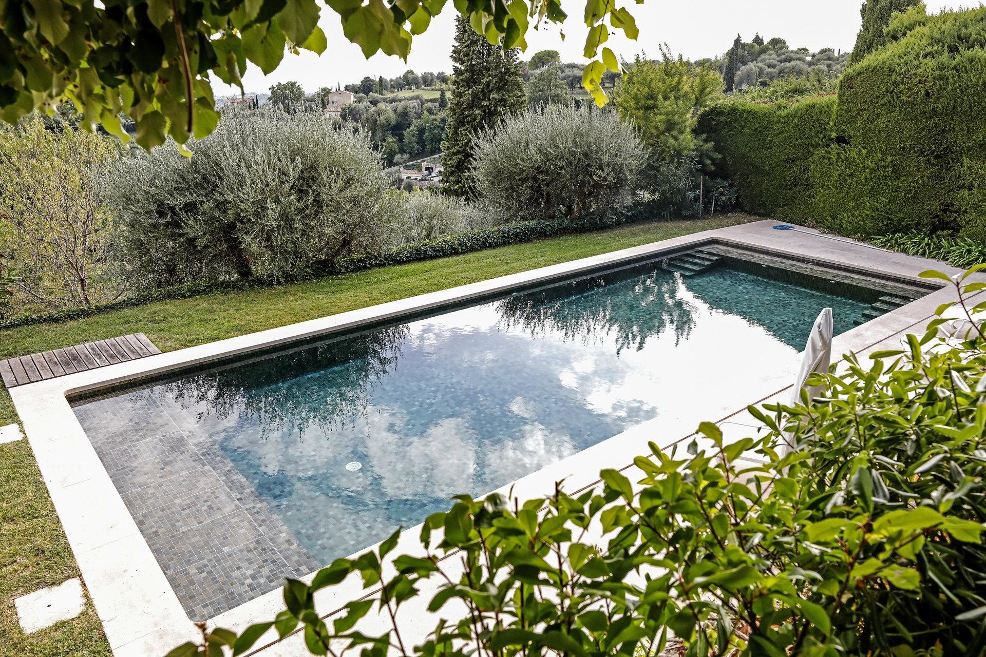 luxury villa in south france with pool and garden with view of mountains