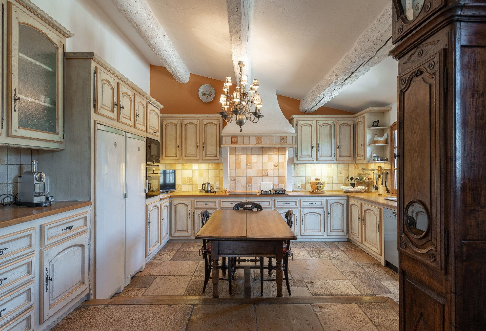 country style large kitchen with yellow and white checkered tile walls