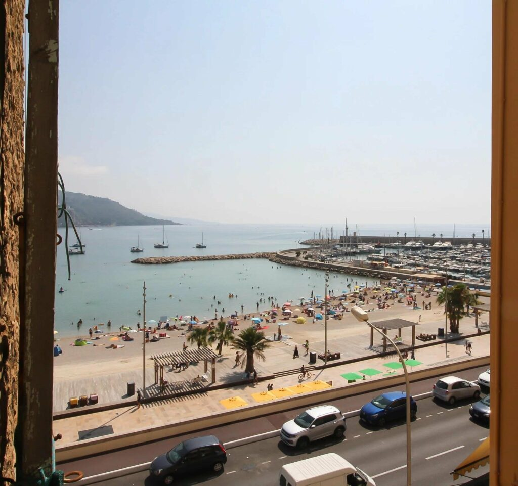 sea beach view of apartment in menton old town