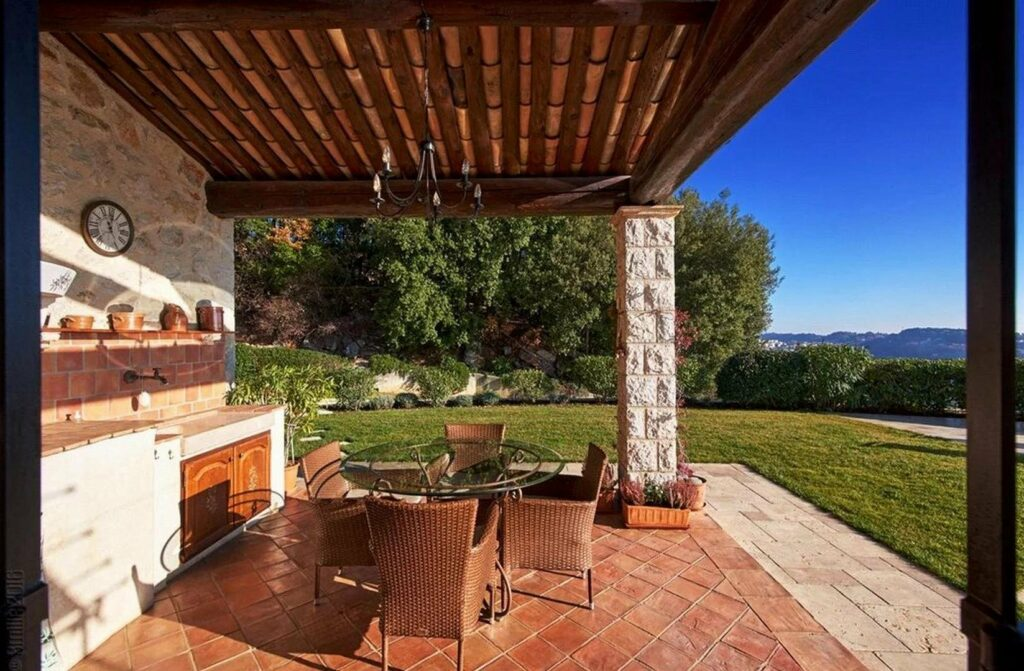 backyard area with outdoor kitchen and dining table