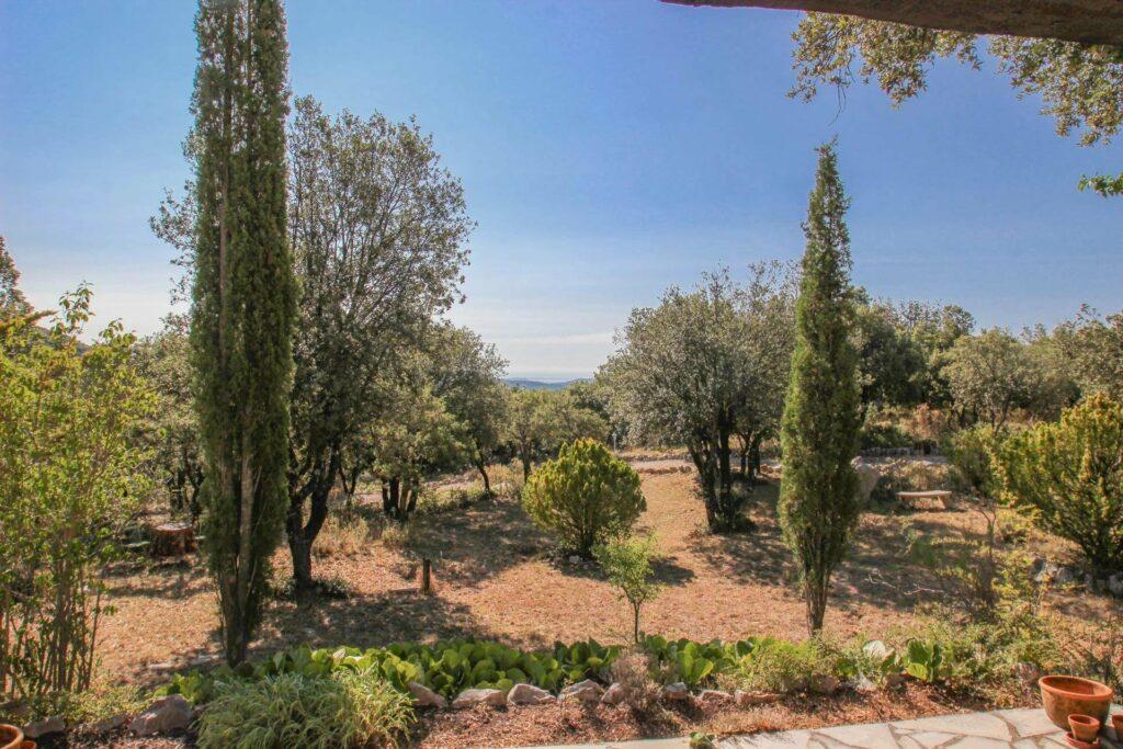 garden of provencal house in village of mons