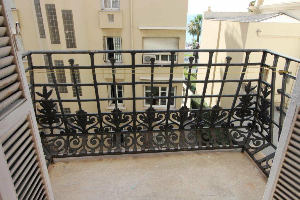 terrace with black metal railing design