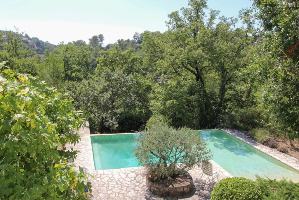 backyard of villa in st paul en foret with large pool and tree garden