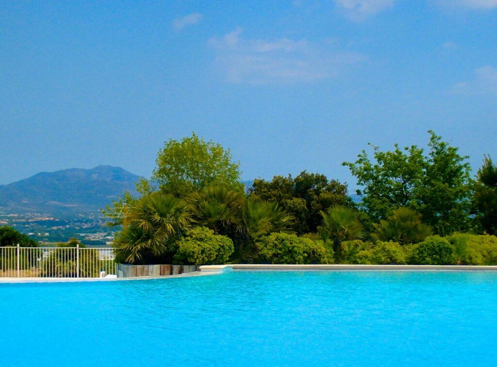 pool overlooking south france mountains