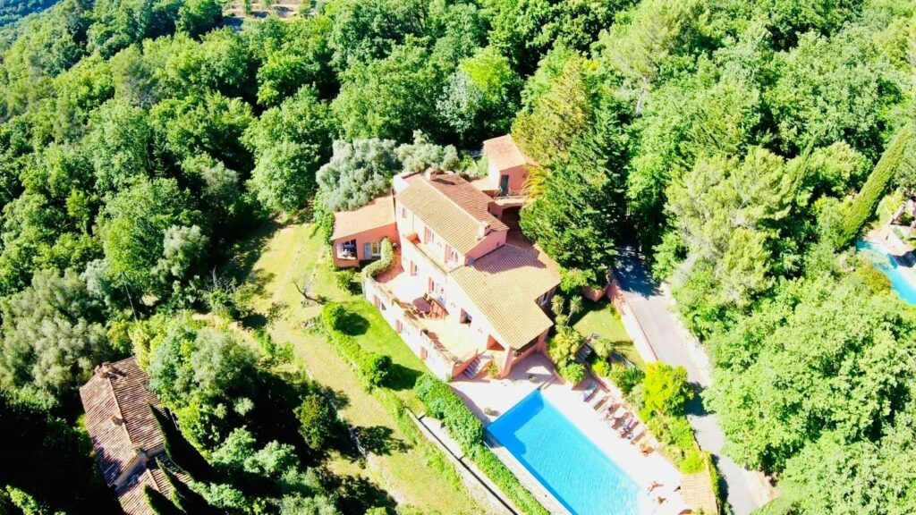 aerial view of villa in south of france