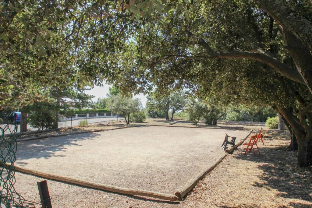 petanque playing area in mons village house