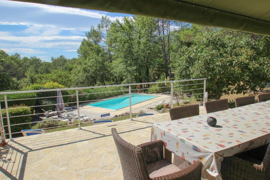backyard of villa in south france with pool and garden
