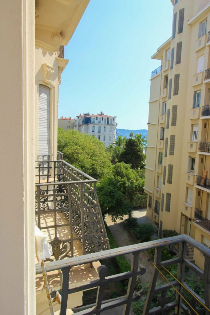 terrace view of mediterranean sea from apartment in nice