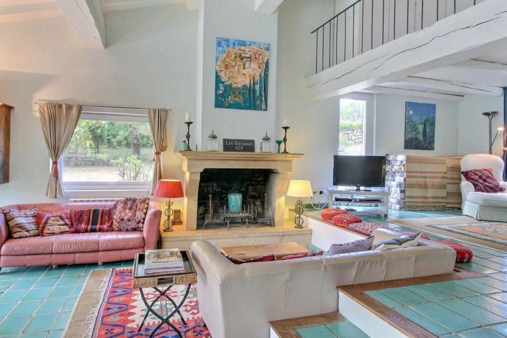 living room with printed rug and white walls modern elements