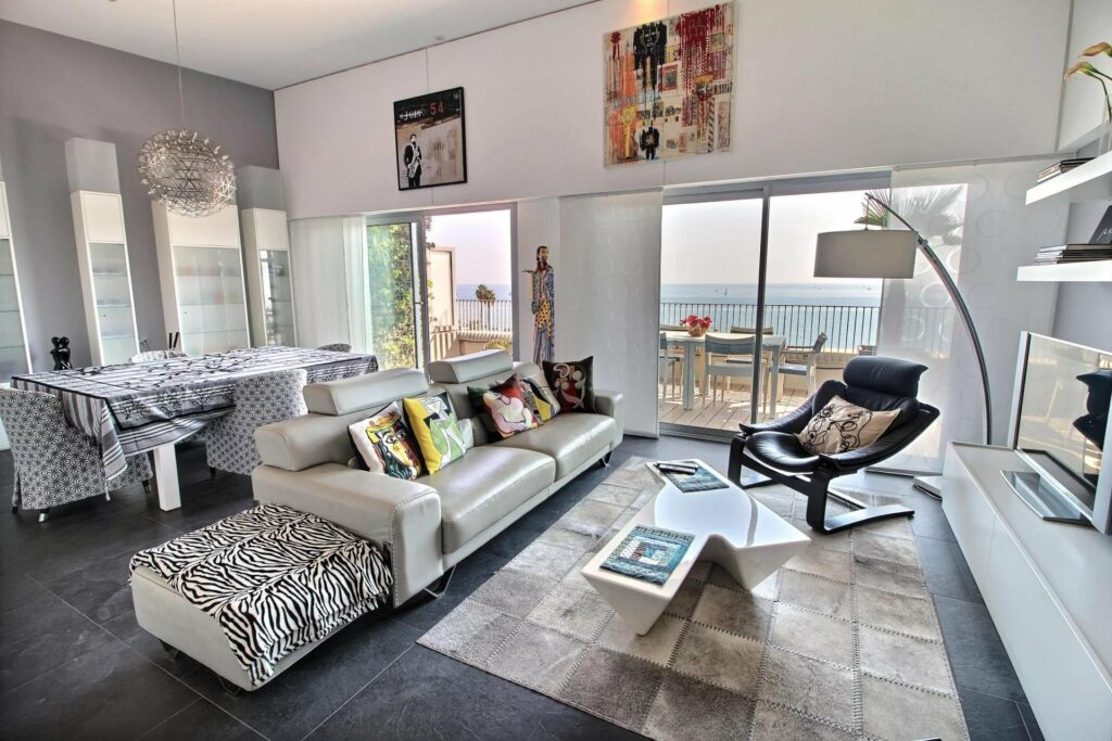 modern living room of apartment in antibes with sea view terrace