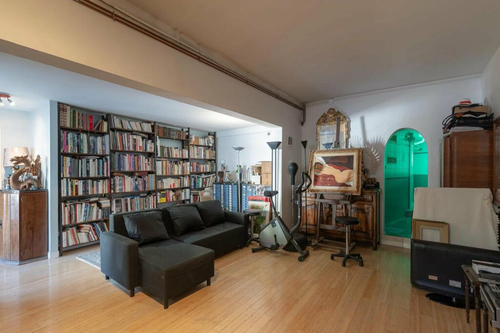 office of villa on french riviera with large book shelf