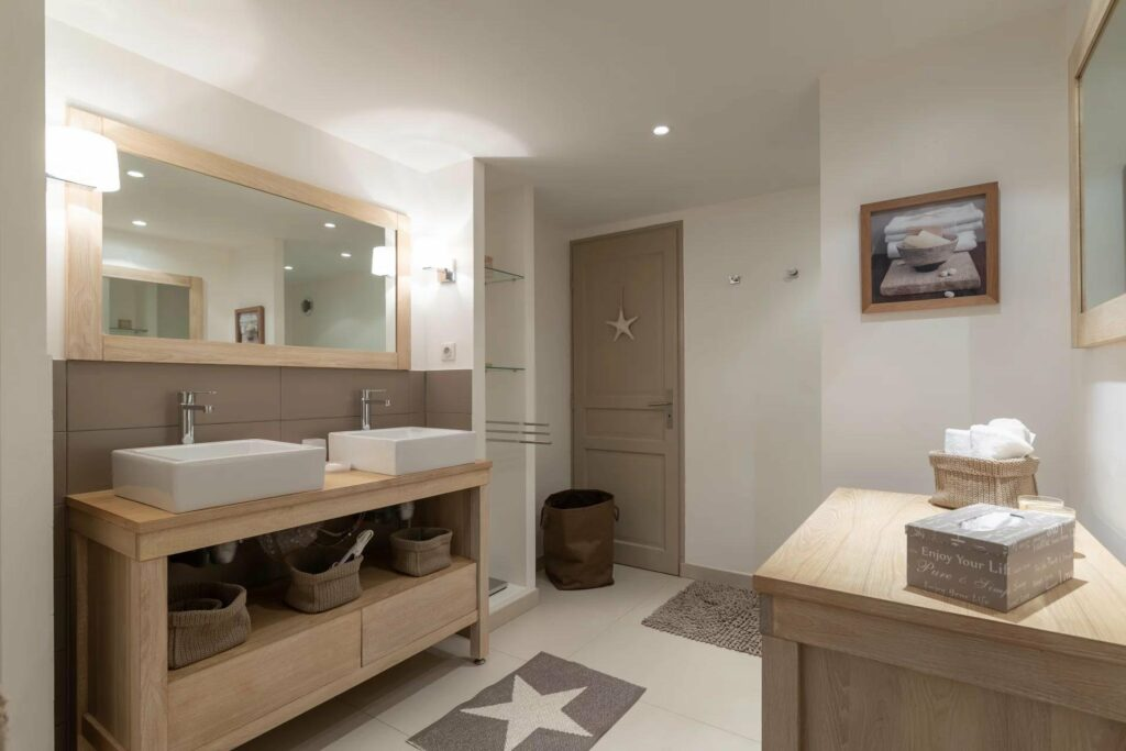 open bathroom minimal design in biot villa
