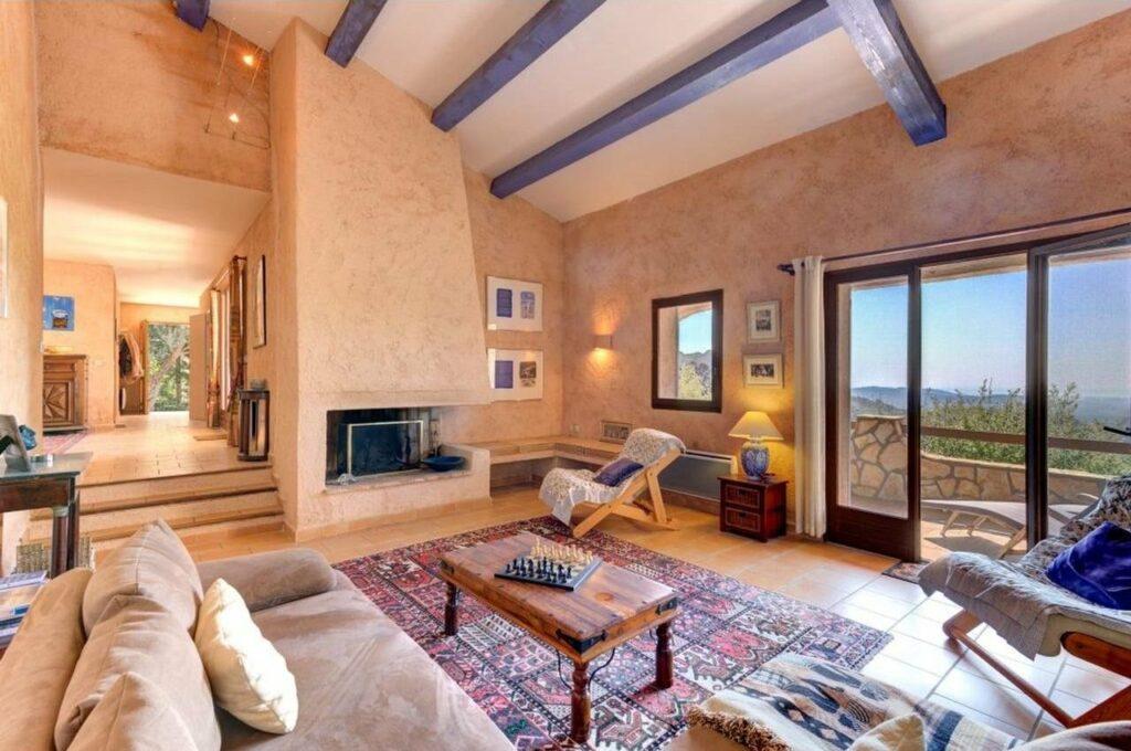interior of grasse villa with purple design rug