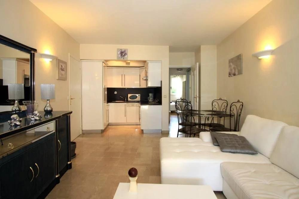 living room of apartment in cannes for sale