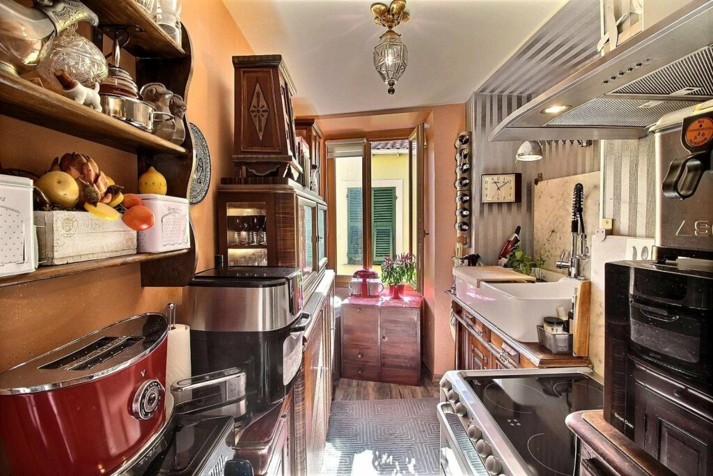 kitchen with unique design and small window