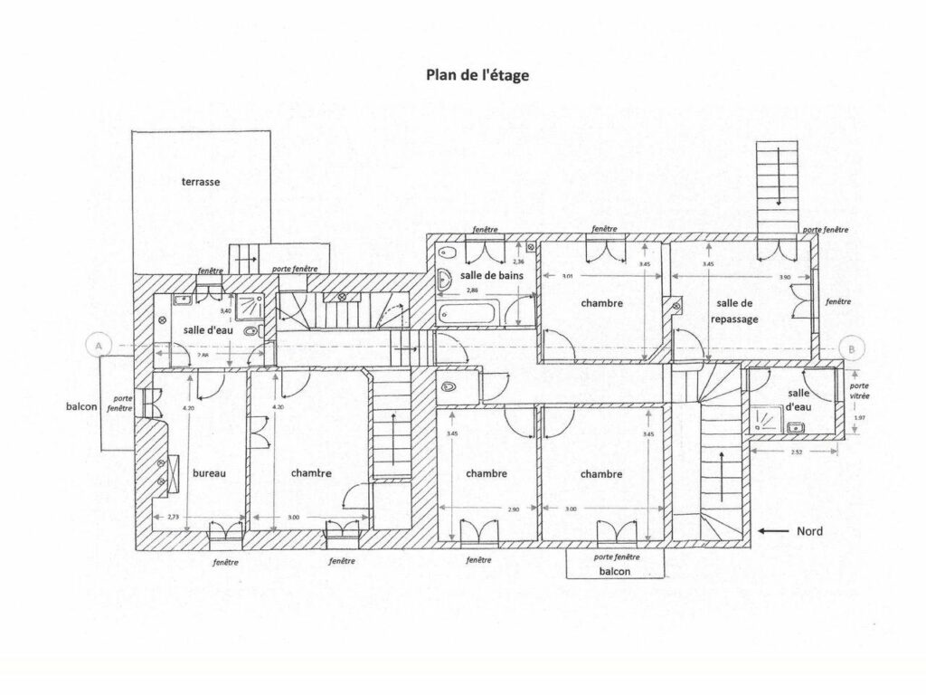 blueprint of house in grasse with large garden