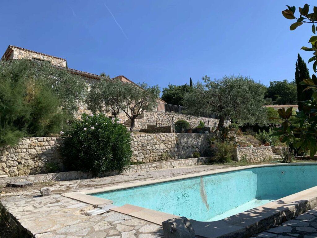backyard of villa in seillan with pool