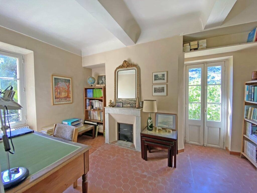 living room at house in grasse with tile floors