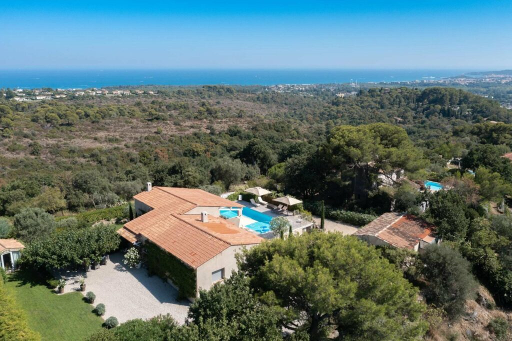 aerial view of villa in biot with swimming pool