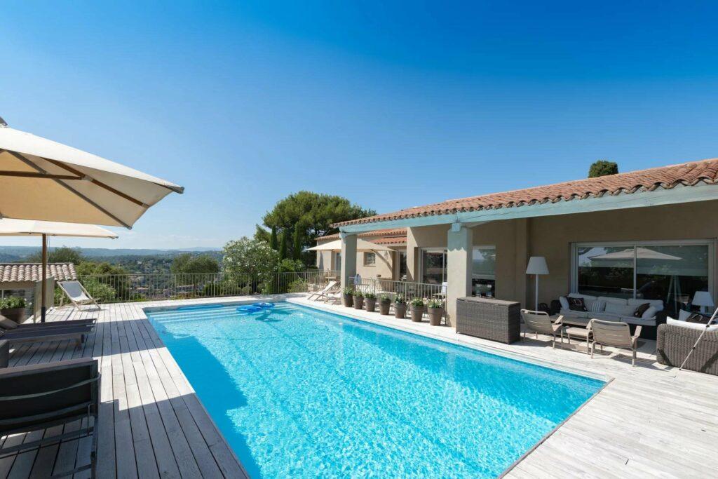 swimming pool of villa in biot coast view