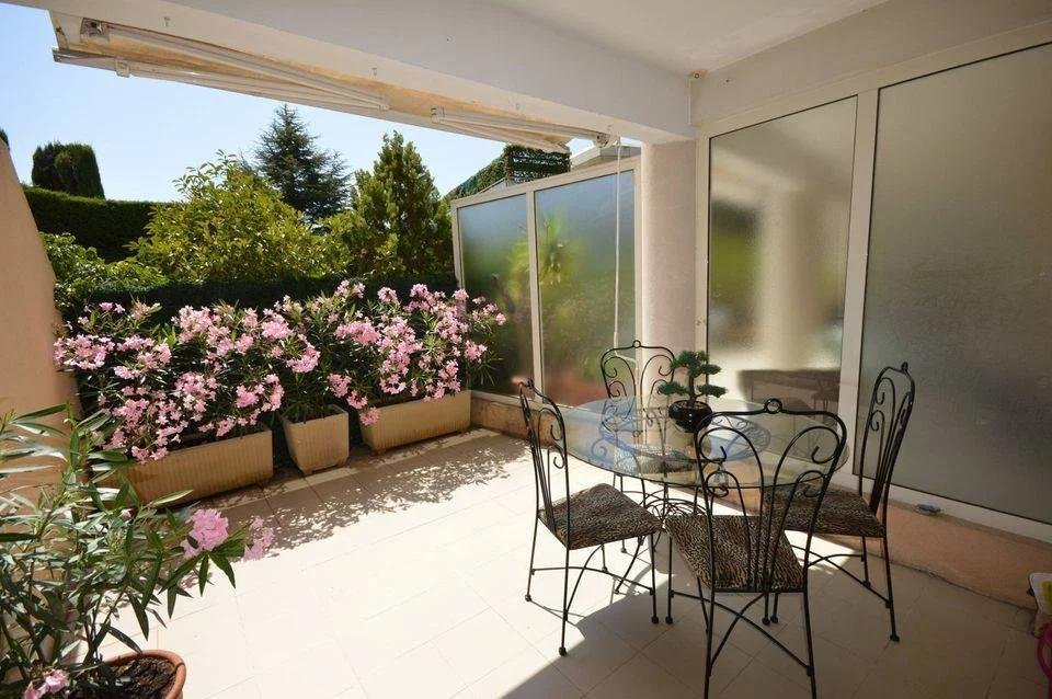 terrace of apartment in le cannet with flowers
