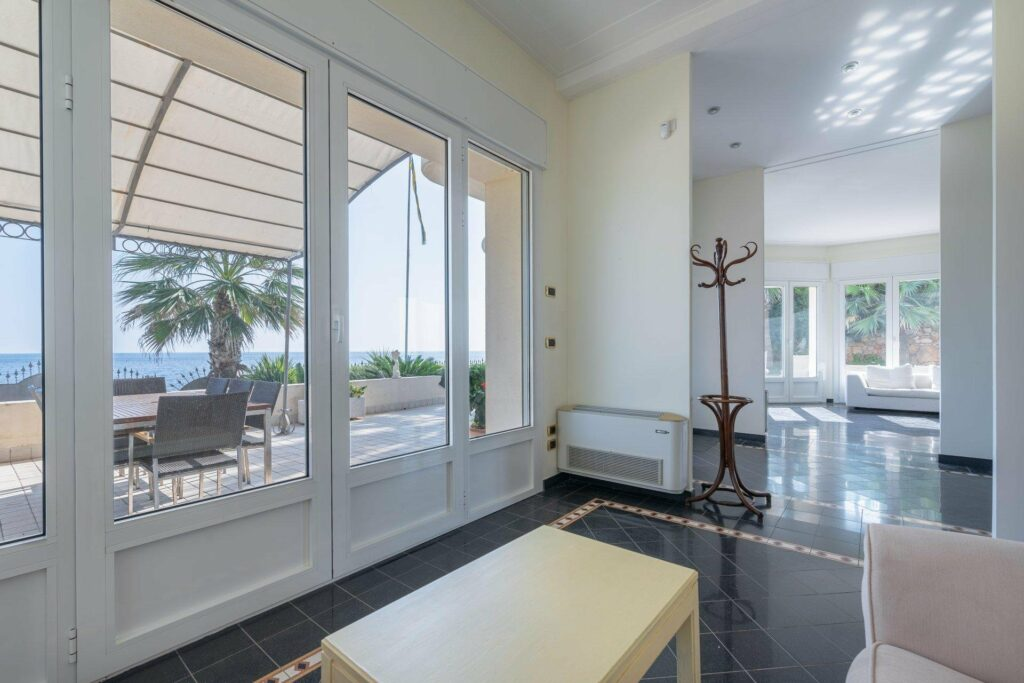 interior of property in antibes with sea view and dark wood floors