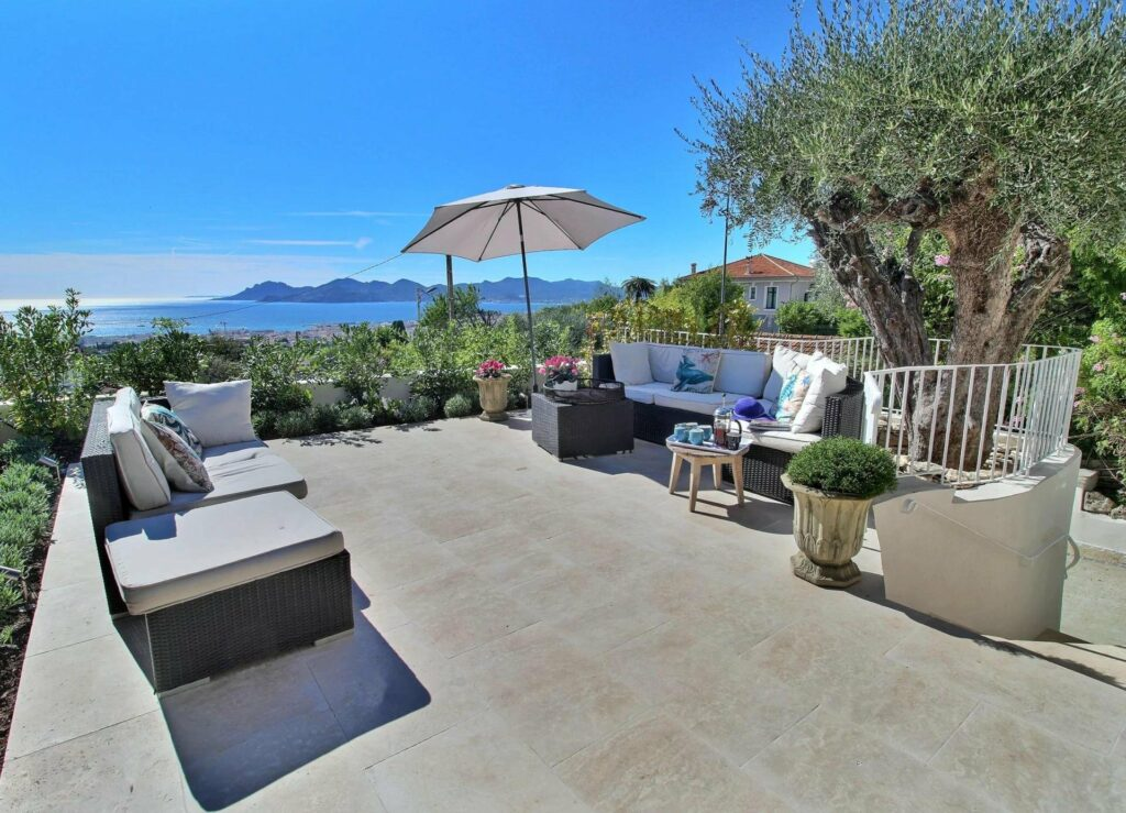 backyard patio of house in cannes for sale