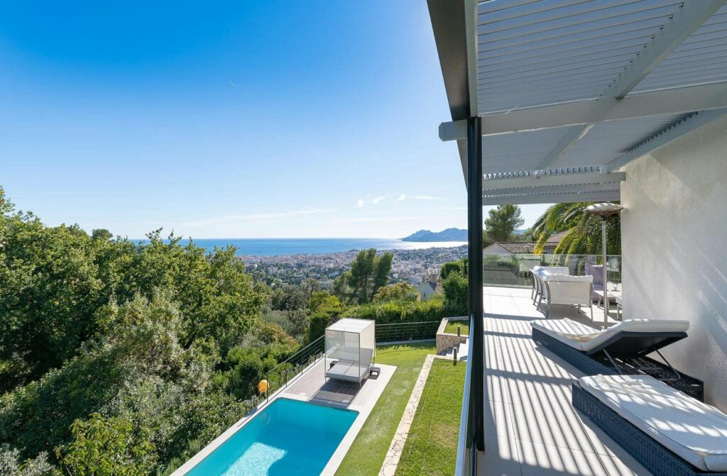 view from terrace of luxury villa in south france