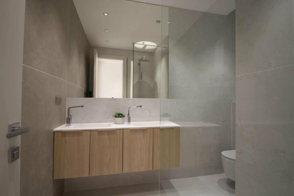 modern bathroom with standing glass shower