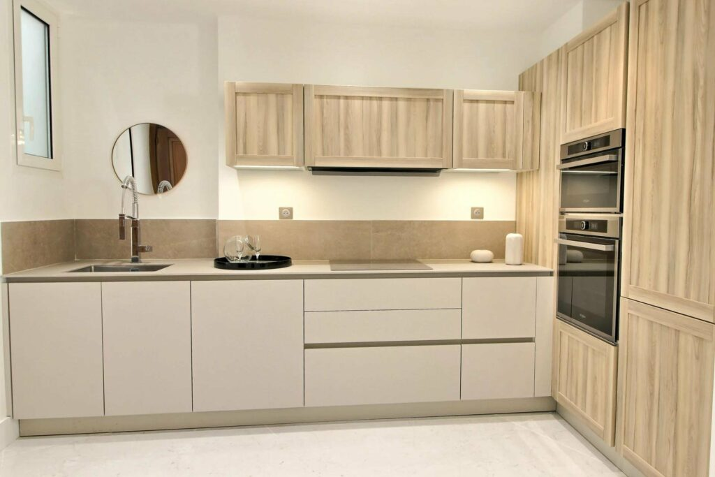 modern kitchen with white cabinets apartment in nice