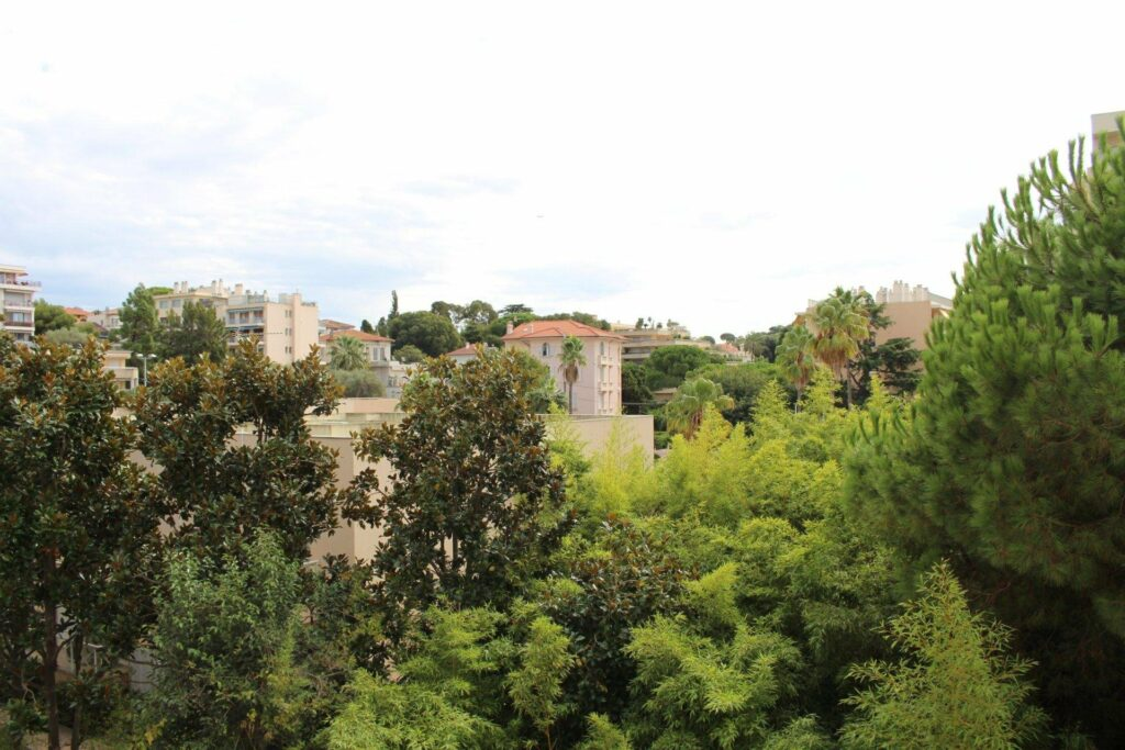 view of town and tall green trees from balcony in south france