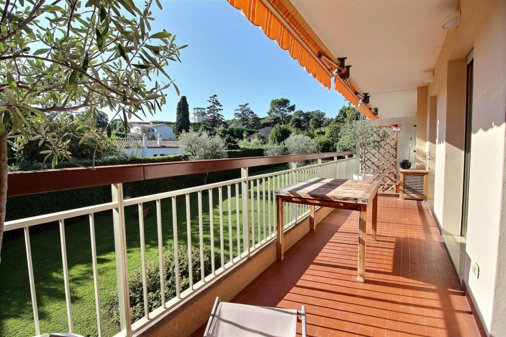 orange terrace of apartment in south france for sale