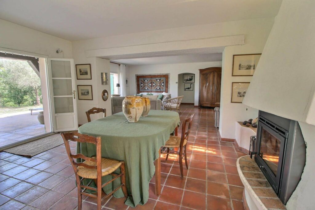 provencal style dining room in villa with private pool