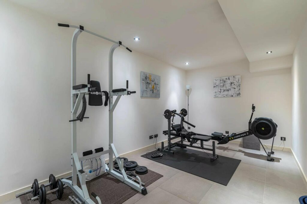 home gym in luxurious contemporary villa in cannes for sale