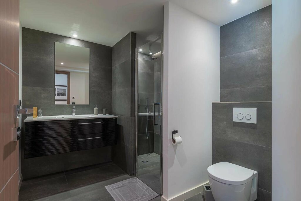 modern bathroom with grey tile walls and standing glass shower