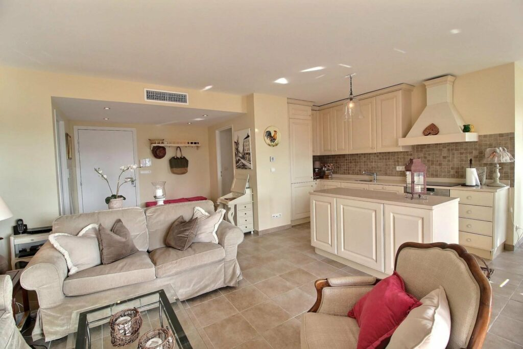 kitchen with beige color palette and tile floors