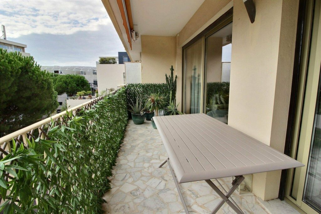 terrace with view of town in south france