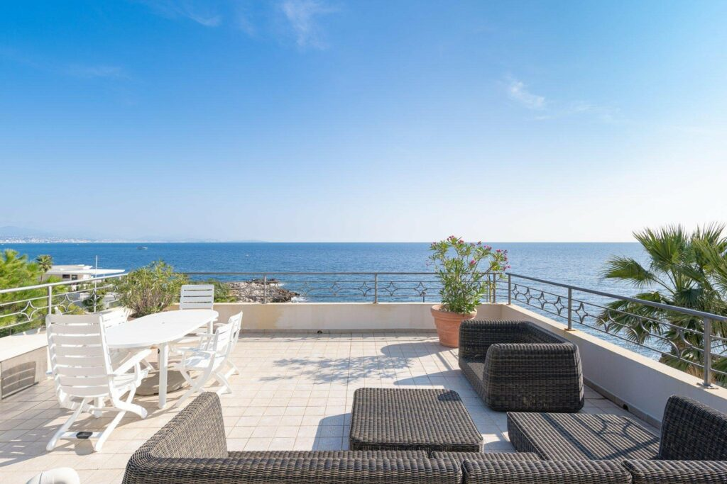 terrace in south france villa with sea view