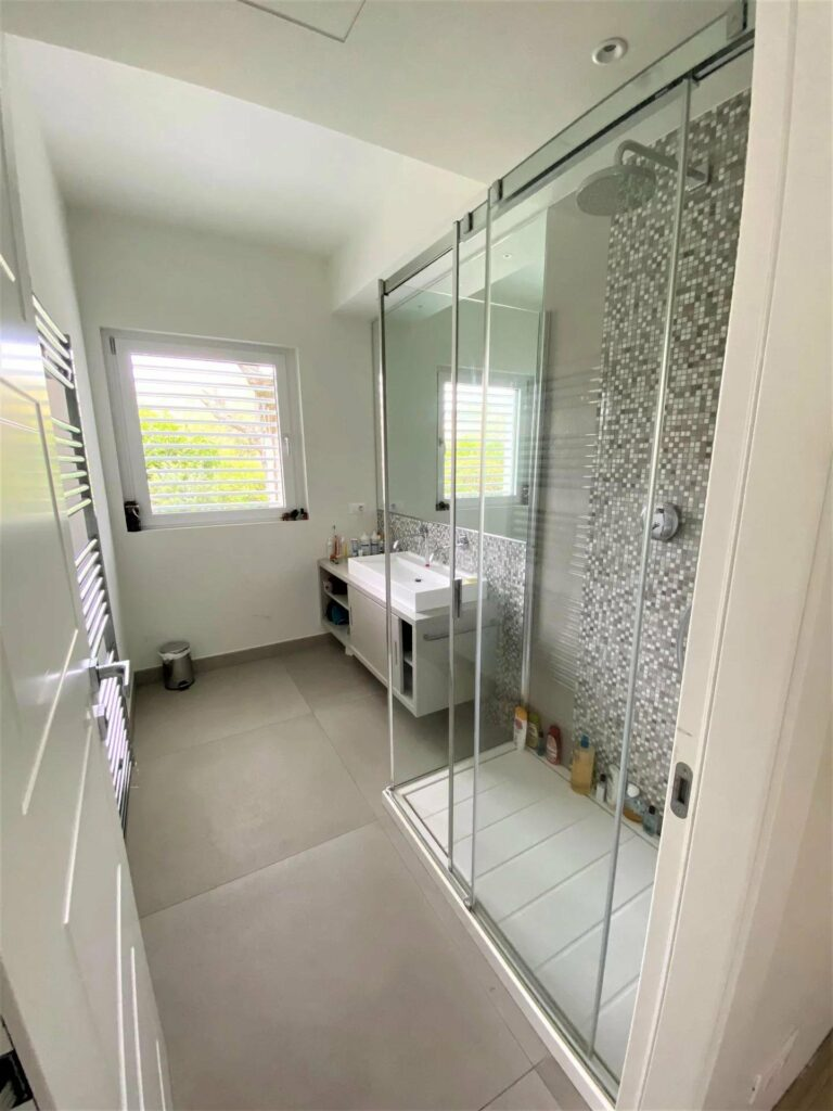 modern bathroom grey toned with standing glass shower