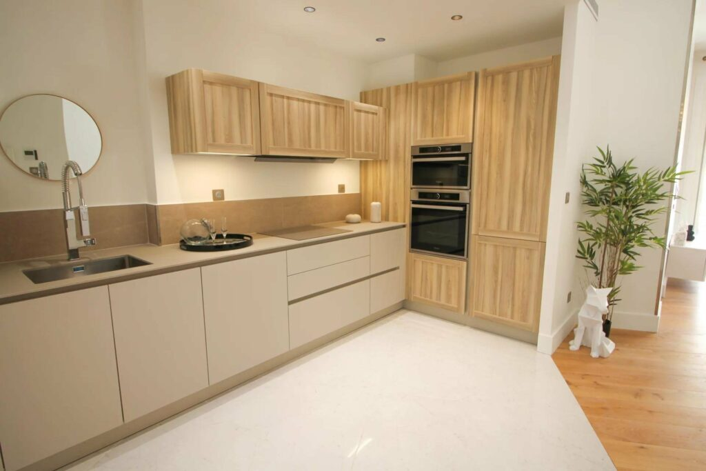 chic design kitchen with wooden cabinets
